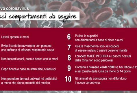 Coronavirus: numero verde e decalogo regole da seguire